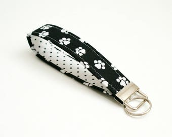 Paw Prints Key Fob - 5 Inch Key Ring Wristlet - Loop Keyring - Cute Wrist Strap - Short Lanyard - Cat Keychain - Dog Lover - Black and White