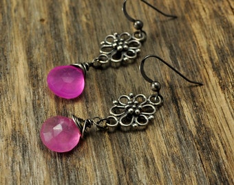 Hot Pink Chalcedony Filigree Oxidized Silver Earrings