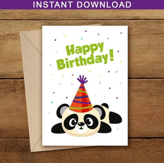 Birthday card panda woodland happy birthday panda birthday card panda woodland happy birthday panda printable birthday card birthday party woodland art panda card woodland bookmarktalkfo Choice Image