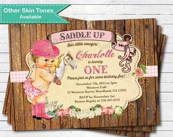 Cowgirl birthday invitations cowgirl first birthday invitation vintage rustic cow girl invitation girl 1st birthday pony filmwisefo