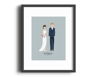 Custom Wedding Portrait Print - Mother's Day Gift, Anniversary Gift, Wedding Gift
