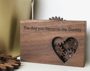 wooden picture frame - cog and gears - Father's Day Gift - New baby gift - nursery decor - personalised frame - mechanical photograph frame