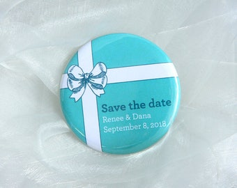 Tiffany Bow design - Save the Date 58mm Magnets