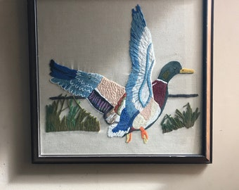 Vintage Embroidered Flying Duck Wall Hanging