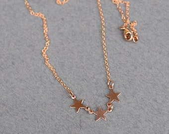 Rose Gold Triple Star Choker, Rose Gold Choker, Star Choker, Rose Gold Necklace, Pink Necklace, Simple Jewelry, N048