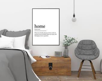 Home || Printable Wall Art, Printable Quote, Downloadable Print