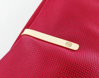 Gold Tie Clip,Monogram Tie Pin,Custom Groomsmen Tie Bar Clip,,Personalized Wedding Tie Clip for Groom,Engraved Tie Clip,Gold Groom Tie Tack