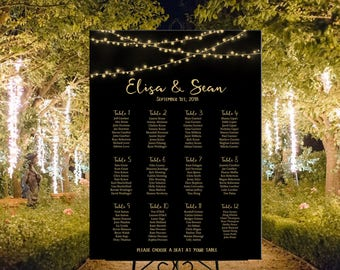 Wedding seating chart printable black with gold string lights personalized, table plan black gold lights wedding DIGITAL seating assignment