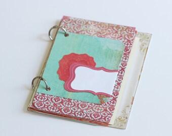 Teal and Red Mini Album Scrapbook Kit Minibook Notebook Journal Mixed Paper Book Jotter 4x6