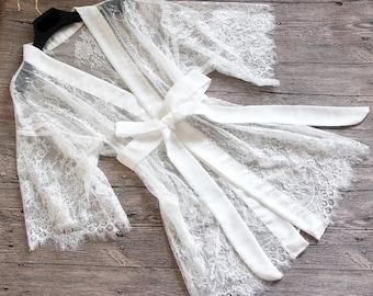 Bridal Lace Sheer Kimono Robe-Honeymoon robe-Lace Robe-Bride getting ready robe