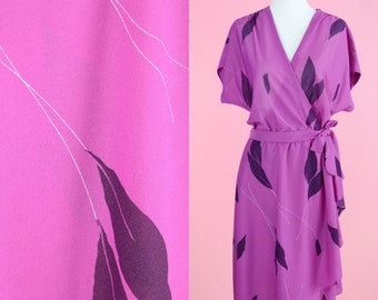 Vintage 70s Wrap Dress // Paul of California, Purple, Fuschia, Leaf Print, Women Size Small, Medium