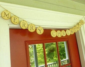 Wood Slice Banner - Christmas Garland - Wood Slice Garland - Holiday Garland - Fireplace Decor - Tree Slice Banner - Christmas Decorations