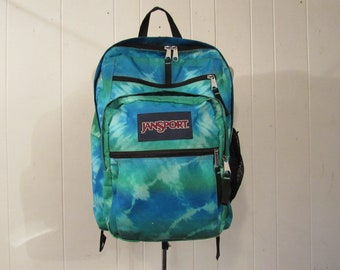 Vintage backpack, Jansport backpack, tie dye backpack, 1980s backpack, old school book bag