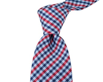 8cm Gingham Check Ties in Blue and Red, Business width Ties