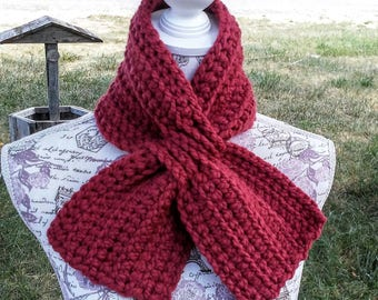 Brick Red Miss Marple Ascot Scarf Crocheted Version Super Chunky Scarflette, Red