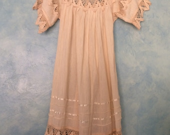 Off-White Cotton Butterfly Dress - Cotton Gauze Dress - Gauzy Cotton and Crochet Dress with Angel Sleeves