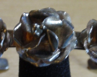 Mexican Sterling Flower Cuff Bracelet