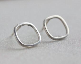 Square sterling silver stud earrings - minimal, simple every day earrings
