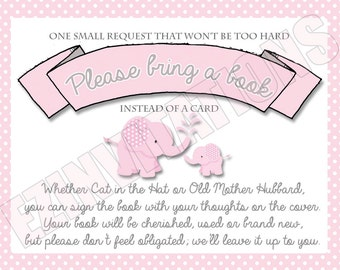 Pink and Grey Elephant Baby Shower Book Request Cards/ Polka Dot baby elephant please bring a book shower invitation - PRINTABLE!!!