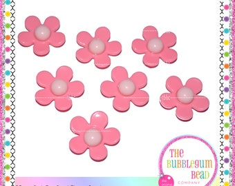 22mm PINK FLOWER BEADS, Qty 10, Bubblegum Beads, Chunky Bead, Gumball Beads, Acrylic Beads, Round Beads, Jewelry Supply, Bubblegum Bead Co.