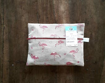 Pouch/clutch cotton with pink Flamans, lined in beige cotton with dots