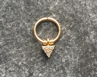 16g Gold Filled Septum Conch Helix Ring with Mini Charm.