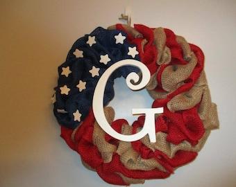 Burlap Flag Wreath