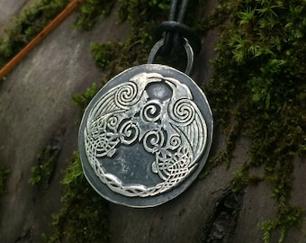 Huginn and Muninn Viking Raven Pendant - Viking Jewelry - Norse Jewelry - Pagan - Asatru