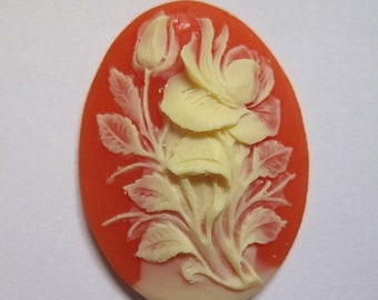 ON SALE Ivory Hibiscus Flower Acrylic Cornelian Vintage Look Cameo Jewelry Cabochon Pendant 40mm x 30mm