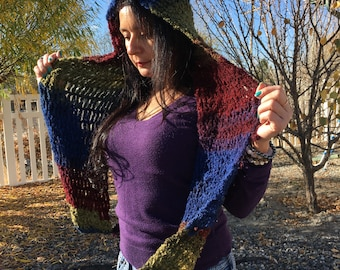 Multi Colored Hooded Scarf
