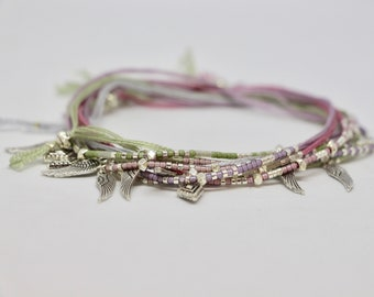Set of 5 Bracelets cord Miyuki beads