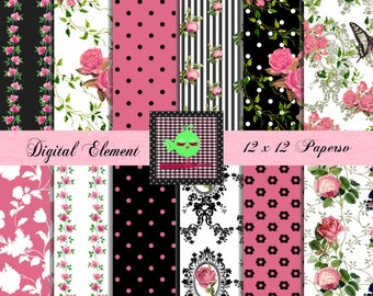 Digital Paper, Shabby Rosa Digital Paper Pink Rose Digital Paper Hot Pink and Black Digital Paper. No. V7.25.DA
