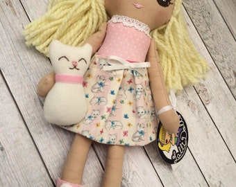 Rag doll with cat, handmade cloth doll, girl gift, birthday gift, personalized doll, Doll with Cat