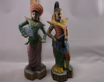 Pair of Vintage Occupied Japan Figurines Statues Geisha Man & Lady Oriental Hand Painted Bisquick.epsteam