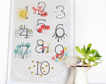 Numbers poster 1-10 digital download - learn to count poster - educational poster - woodland decor - home decor - nursery decor
