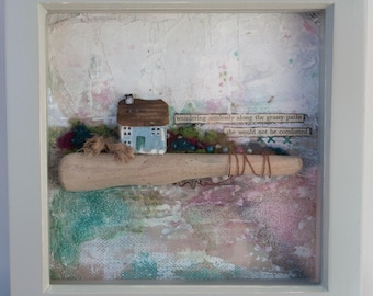 Cottage by the Sea - Framed, Mixed Media Collage