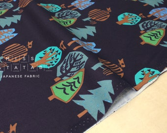 Japanese Fabric Into the Woods - navy blue - 50cm