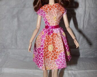 Colorful floral print modest dress for Fashion Dolls - ed871