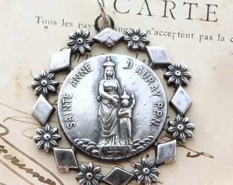 Sterling Silver St Anne / St Christopher Medal - Patron of mothers and grandmothers - Antique Reproduction