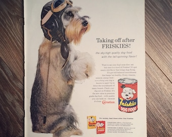 1960 Friskies Dog food ad, features a cute pilot puppy.
