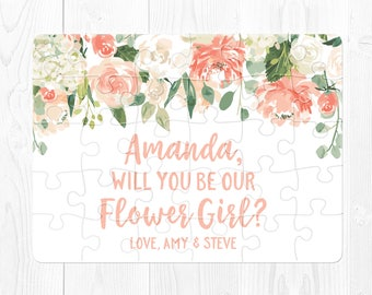 Flower Girl Proposal Gift Flower Girl Puzzle Proposal Will You Be My Flower Girl Proposal Puzzle Peach Flower Girl Gift Proposal Cream Pink