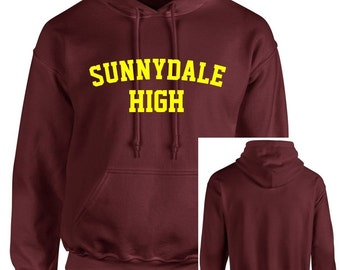 Maroon Sunnydale High School Buffy Style SHS Adult Unisex Hooded Sweatshirt With Print on Front Only Hoodie