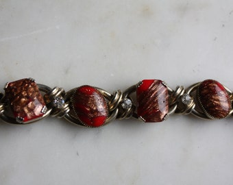 Vintage Murano Glass Bead Necklace Red Gold with Clear crystals EUC