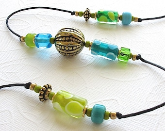 20% OFF SALE!  Beaded Wind Chime. Garden Chime. Turquoise & Lime Green Lampwork Glass Beads. Olive. Aqua. Antique Gold. Brass Bell