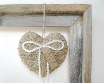 Christmas Decor - personalized Christmas ornament, holiday tree ornament,  jute heart ornament, Christmas gift, family gift, co worker gift