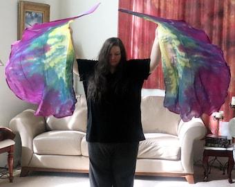 "Prophetic - Silk Flag - Worship Flag - Praise Dance - Dyed Silk - Swing Flag - Regular Swing Flag Pair 35x54"" called Aligned with Truth"