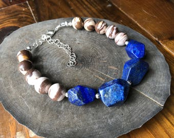 Stone choker necklace, lapis and brown zebra jasper stone choker necklace, beaded stone choker, gemstone choker necklace