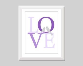 Love Birds Print, Love Birds Nursery Art, Bird Nursery Decor, LOVE Print, Bird Home Decor, Bird Art Print, Woodland Animal Nursery Art