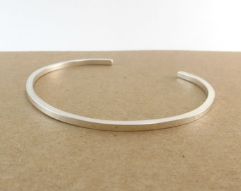 Argentium Silver Thin Cuff Bracelet, Stacking Bangle Bracelet, Recycled Silver Cuff, Hand Forged Sterling Silver Bracelet