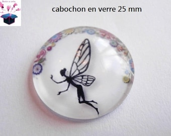 1 cabochon clear 25 mm round fairy theme